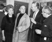 Wystawa Marka Żuławskiego (od prawej: Marian Hemar, Marek Żuławski, Feliks Topolski)