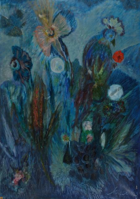 Bez tytułu, 1963<br>olej na płótnie<br>161 x 113 cm<br>(Wł. MUT)