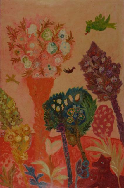 """Green Dragon in Paradise"", 1972<br>olej na płótnie<br>183 x 124 cm<br>(Wł. MUT)"