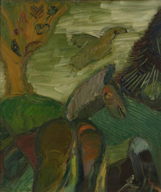 """""""Poet and Horse"""", 1952<br>olej na płótnie<br>61 x 50,5 cm<br>(Wł. MUT)"""