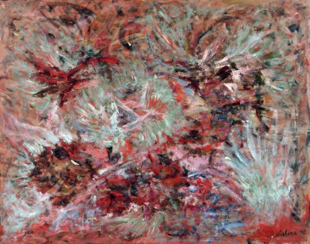 Bez tytułu, 1958<br>olej na płótnie<br>101 x 126 cm<br>(Wł. MUT)