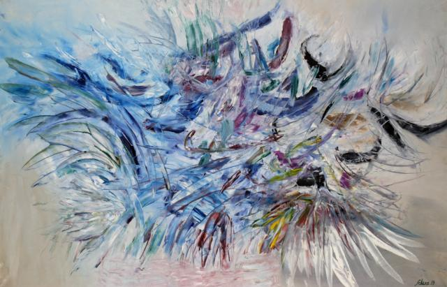 """""""Overture after Stravinski"""", 1959<br>olej na płótnie<br>122 x 185 cm<br>(Wł. MUT)"""