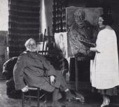 Przy pracy nad portretem Auguste'a Perreta, ok.1930