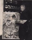 Przy pracy w swojej pracowni przy ulicy rue Pascal 40 w Paryżu, ok. 1950– 1960
