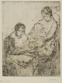 """""""Podwójne macierzyństwo"""", 1907-1909<br>sucha igła<br>31 x 24 cm"""