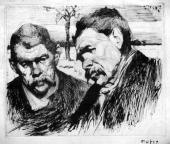 """""""Podwójny portret pisarza Maksyma Gorkiego"""", ok. 1907-1913<br>sucha igła na papierze<br>22,5 x 28 cm"""