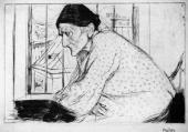 """""""Stara polska Żydówka"""", ok. 1910<br>sucha igła na papierze<br>29 x 39 cm"""