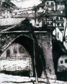 """""""Stary most w Ondarroa"""", Kraj Basków Hiszpania, ok. 1913-1914<br>akwaforta na kartonie<br>27 x 21,5 cm"""