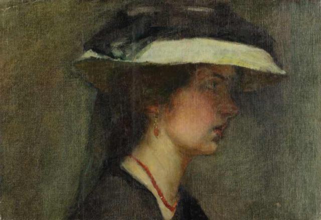 """""""Melancholia – Autoportret"""", ok. 1903<br>olej na płótnie<br>26,3 x 38,2 cm"""
