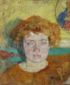 """""""Portret Aurelii (Lili) Reymontowej, żony pisarza"""", ok. 1907 (1923?) <br>olej na płótnie<br>45 x 37 cm"""