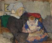 """""""Stara Bretonka z dzieckiem"""", 1911<br>olej na płótnie<br>85,5 x 100 cm"""