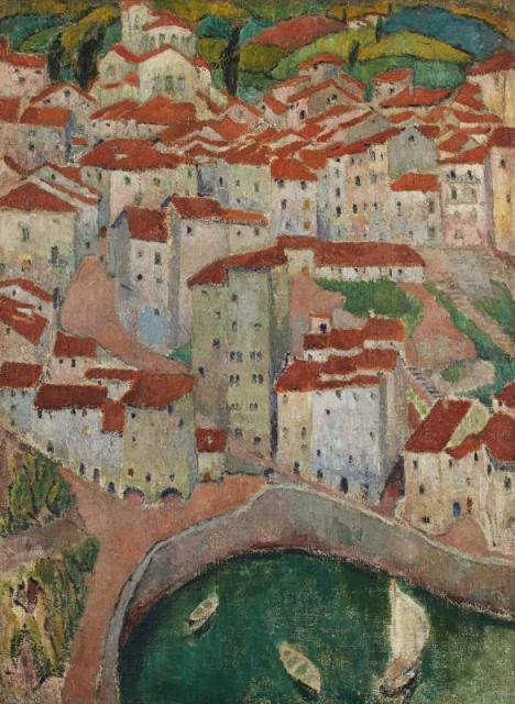 """""""Dachy w Ondarroa (Kraj Basków, Hiszpania)"""", ok. 1913/1914<br>olej na płótnie<br>115,5 x 89 cm"""