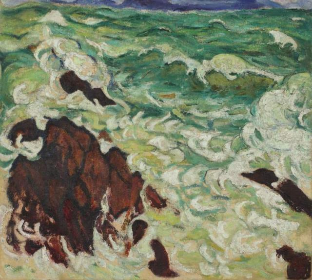 """""""Pejzaż morski"""", ok. 1913/1914<br>olej na płótnie<br>61 x 68,5 cm"""
