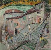 """""""Pejzaż z Gandrii I (Ticino, Szwajcaria)"""", 1915<br>olej na płótnie<br>79,7 x 79,7 cm"""