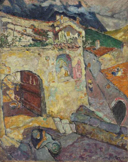 """""""Pejzaż z Gandrii II z kapliczką"""", 1915<br>olej na płótnie<br>81,4 x 65,2 cm"""