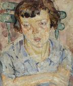 """""""Dziewczynka na krześle"""", ok. 1919<br>olej na sklejce<br>45,5 x 38,8 cm"""