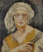 """""""Autoportret w turbanie II (z pędzlami)"""", ok. 1919/1920<br>olej na sklejce<br>61 x 50 cm"""