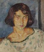 """""""Młoda dziewczyna"""", ok. 1919/1920<br>olej na płótnie<br>54,5 x 46,3 cm"""