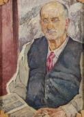 """Portret pisarza Romain Rollanda I"", 1920<br>olej na płótnie<br>80 x 60 cm"