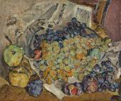 """""""Martwa natura z winogronami i jabłkami"""", ok. 1920<br>olej na płótnie<br>33,7 x 40,3 cm"""