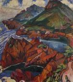 """""""Pejzaż z Trayas – Czerwone skały"""", ok. 1921<br>olej na płótnie<br>89 x 80 cm"""
