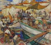 """""""Port rybacki w St. Tropez"""", ok. 1921/1922<br>olej na płótnie<br>80 x 89 cm"""