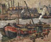 """""""Barki na kanale St. Martin w Paryżu"""", ok. 1922<br>olej na płótnie<br>50 x 61,5 cm"""