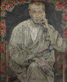 """""""Portret mężczyzny w białej tunice"""", ok. 1924<br>olej na tekturze<br>106 x 86,3 cm"""