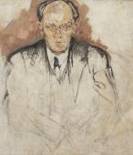 """""""Portret Stefana Żeromskiego pisarza polskiego – niedokończony"""", 1924/1925<br>olej na płótnie<br>100 x 86,5 cm"""