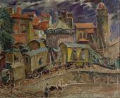 """""""Widok z Collioure. Cyrk"""", ok. 1925<br>olej na płótnie<br>60 x 72,8 cm"""