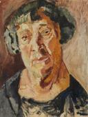 """""""Portret rzeźbiarki Chany Orloff"""", ok. 1926<br>olej na kartonie<br>46,3 x 35,5 cm"""