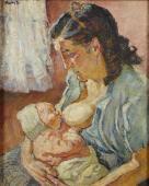 """""""Macierzyństwo (Matka z profilu)"""", ok. 1930-1940<br>olej na płótnie<br>60 x 50,2 cm"""
