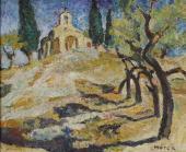"""""""Pejzaż prowansalski z kapliczką"""", ok. 1940-1945<br>olej na sklejce<br>43,5 x 53,5 cm"""