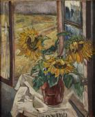 """""""Słoneczniku w wazonie z pejzażem w tle"""", ok. 1940-1945<br>olej na płótnie<br>77,5 x 64 cm"""