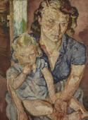 """""""Matka z dzieckiem III"""", ok. 1950? <br>olej na płótnie<br>81 x 60 cm"""
