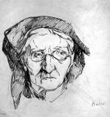 """""""Głowa starej kobiety"""", ok. 1918-1920<br>tusz na papierze<br>26 x 25 cm"""