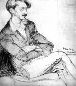 """""""Portret Henri Barbusse'a"""", 1923<br>tusz na papierze<br>40 x 35 cm"""