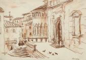 """""""Arezzo"""", 1939<br>tusz sepiowy i podmalowanie na papierze<br>(Wł. MUT)"""