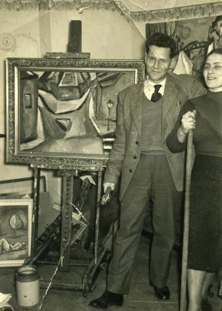 Z żoną Anną, Londyn, lata 50.