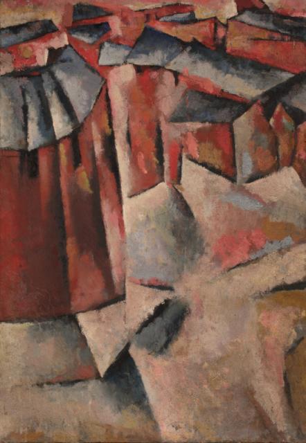 """Village"", ok. 1950<br>olej na płótnie<br>101 x 71 cm<br>(Wł. MUT)"
