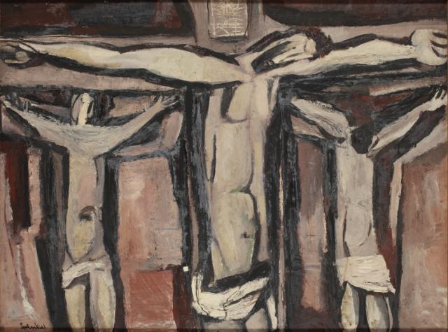 """""""Crucifixion"""", ok. 1950<br>olej na płycie pilśniowej<br>91,5 x 122,5 cm<br>(Wł. MUT)"""