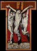 """""""Crucifixion"""", 1955-1965<br>olej na płycie pilśniowej, deska<br>175,5 x 74 cm<br>(Wł. MUT)"""