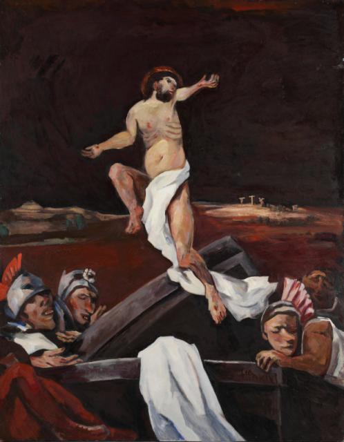 """""""Resurrection"""", 1955-1985<br>olej na płycie pilśniowej<br>139,5 x 108,5 cm<br>(Wł. MUT)"""