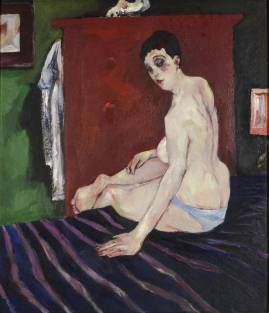 """Nude on the blue bedspread"", 1955-1985<br>olej na tekturze<br>70,5 x 61 cm<br>(Wł. MUT)"