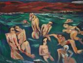 """""""Night bathers in Cassis"""", 1955-1985<br>olej na płótnie<br>77 x 100 cm<br>(Wł. MUT)"""
