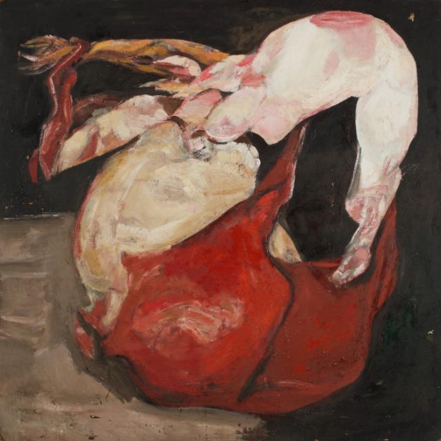 """""""Judo square red horse"""", 1960-1985<br>olej na płótnie<br>121 x 121 cm<br>(Wł. MUT)"""