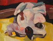 """""""Wrestlers on yellow floor"""", 1965-1995<br>olej na płycie pilśniowej<br>94,5 x 122 cm<br>(Wł. MUT)"""