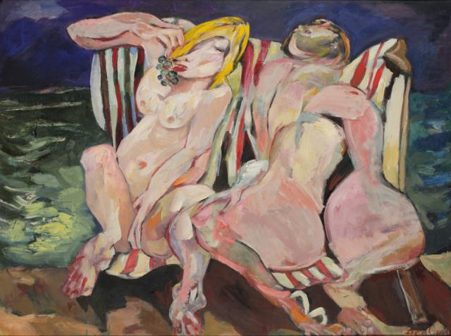 """""""Sunbathers 60s"""" (""""Nudes on deck chairs""""), 1969<br>olej na płycie pilśniowej<br>91 x 121 cm<br>(Wł. MUT)"""
