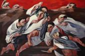 """""""Death of Ceasar"""", 1970<br>olej na płótnie<br>102 x 153 cm<br>(Wł. MUT)"""