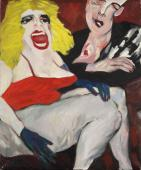 """Sid Viciuos and Nancy"" (""Sid et Nancy"", ""Punk Rockers II""), 1978-1979<br>olej na płótnie<br>61 x 50,5 cm<br>(Wł. MUT)"